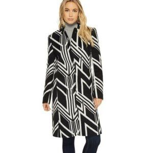 Kenneth Cole Women's B&W Art Deco Wool Coat, M